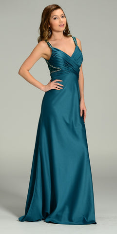 ON SPECIAL LIMITED STOCK - Formal Floor Length Satin Green Dress Elegant Red Carpet