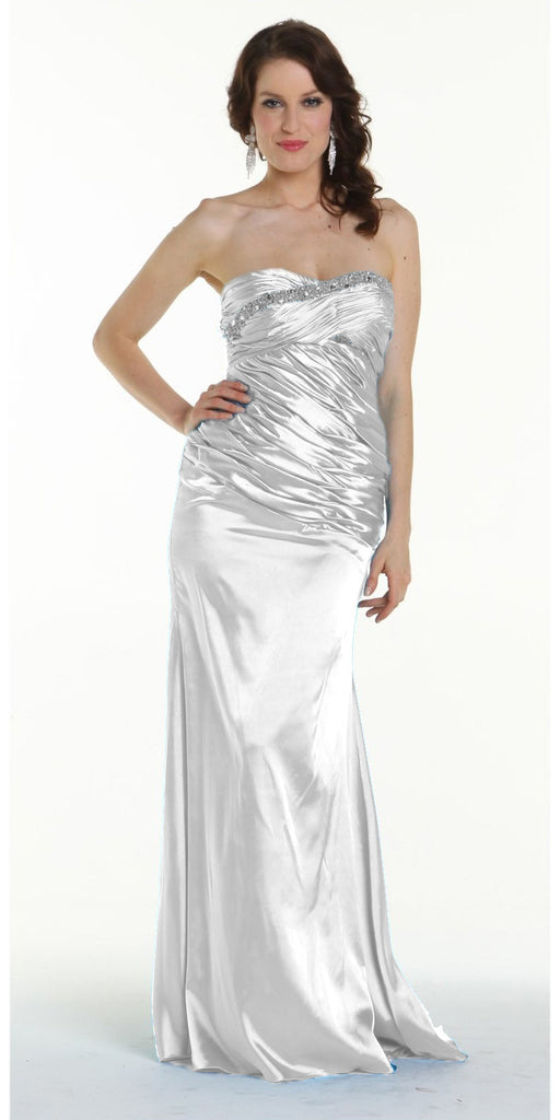 ON SPECIAL LIMITED STOCK - White Prom Dress Strapless Sweetheart Neck Charmeuse Long Gown