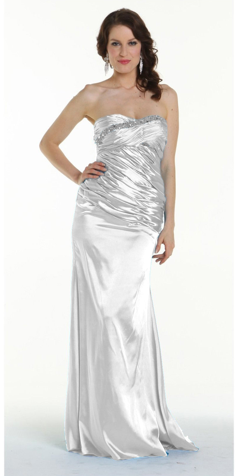 ON SPECIAL LIMITED STOCK - Long White Prom Dress Strapless Sweetheart Neck Charmeuse Gown Bead