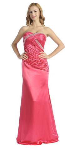 ON SPECIAL LIMITED STOCK - Long Fuchsia Prom Dress Strapless Sweetheart Neck Charmeuse Gown Bead
