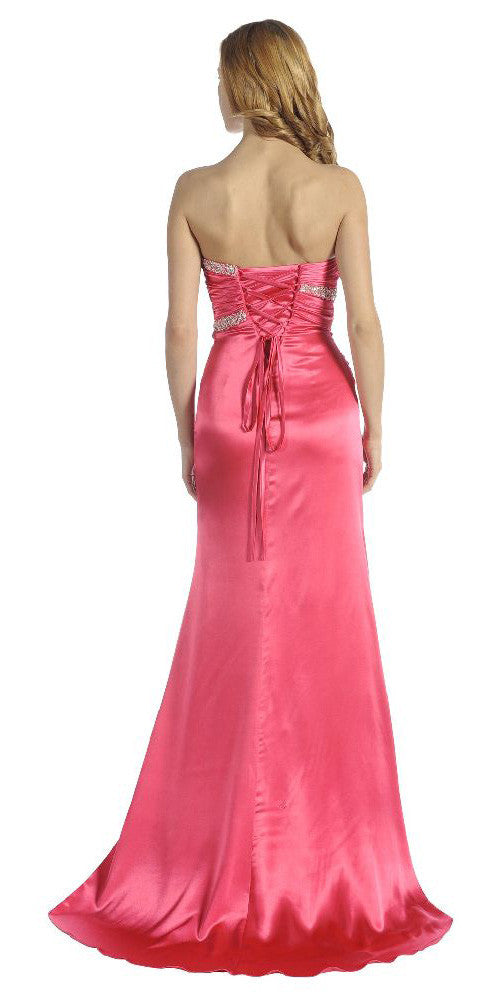 ON SPECIAL LIMITED STOCK - Fuchsia Prom Dress Strapless Sweetheart Neck Charmeuse Long Gown