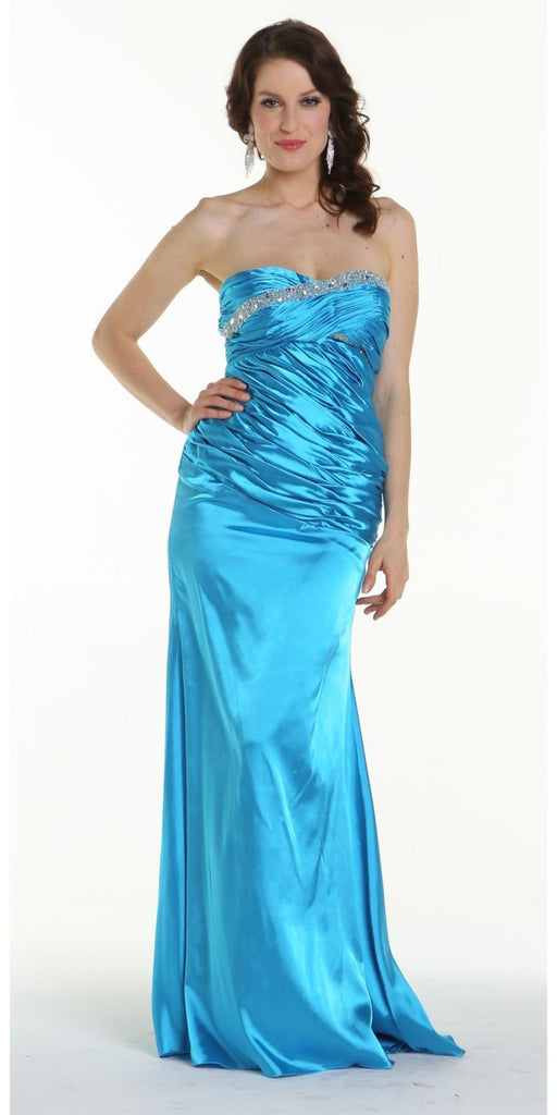 ON SPECIAL LIMITED STOCK - Turquoise Prom Dress Strapless Sweetheart Neck Charmeuse Long Gown