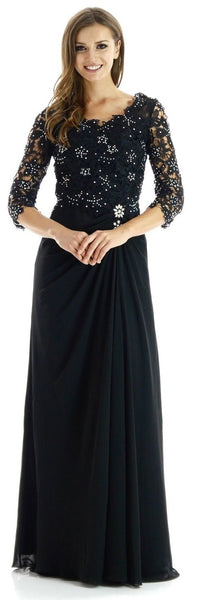 Full Length Black Chiffon Evening Dress Mid Length Lace Sleeves