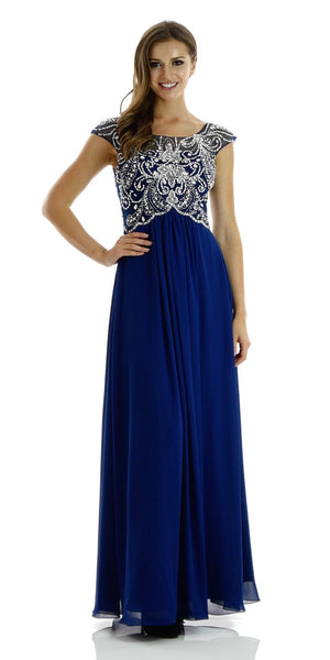 Full Length Chiffon Dress in Navy Blue Illusion Neck Cap Sleeves