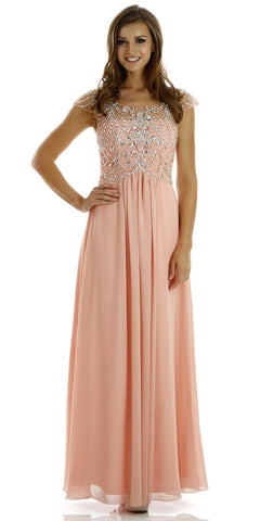 Full Length Chiffon Dress in Peach Illusion Neck Cap Sleeves