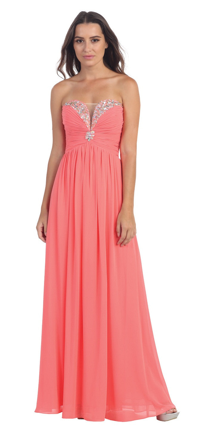 Full Length Chiffon Formal Gown Coral Empire Strapless
