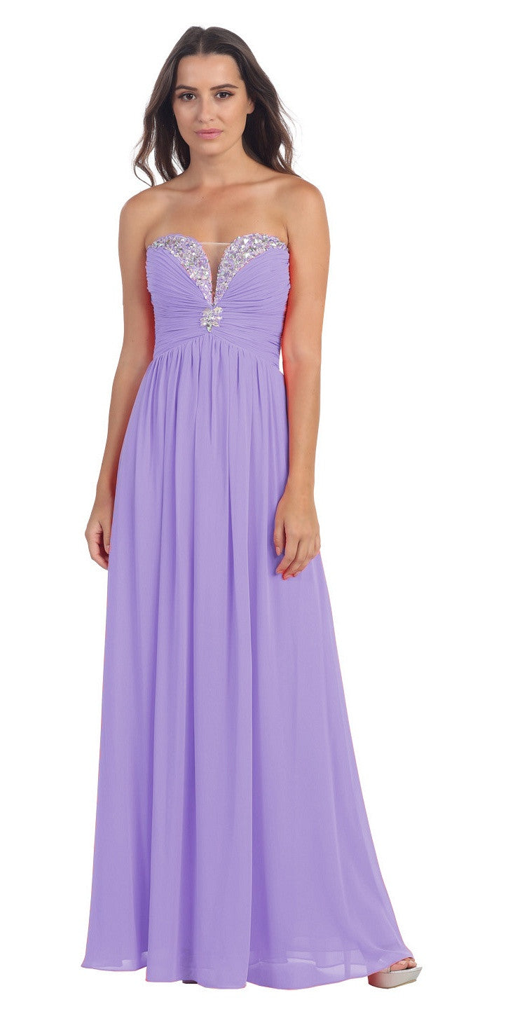 Full Length Chiffon Formal Gown Lilac Empire Strapless