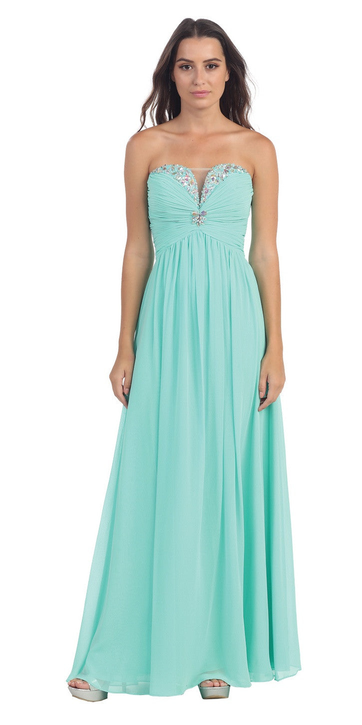 Full Length Chiffon Formal Gown Mint Empire Strapless