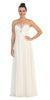 Full Length Chiffon Formal Gown Off White Empire Strapless