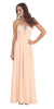 Full Length Chiffon Formal Gown Peach Empire Strapless