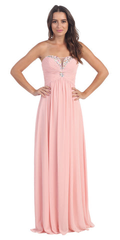 Full Length Chiffon Formal Gown Blush Empire Strapless