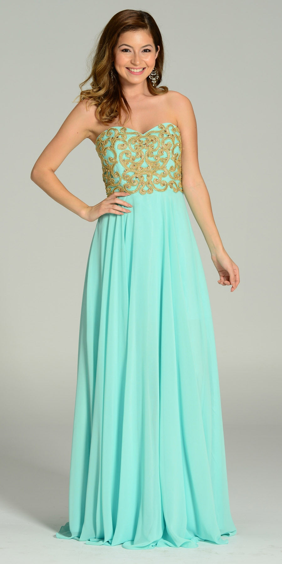 Full Length Chiffon Spanish Style Mint Gold Dress Off Shoulder Lace Applique