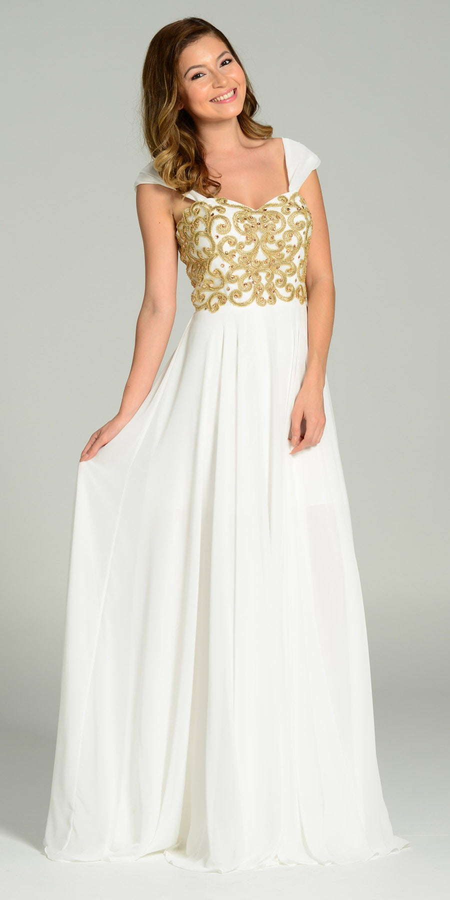 Full Length Chiffon Spanish Style Off White Gold Dress Off Shoulder Lace Applique
