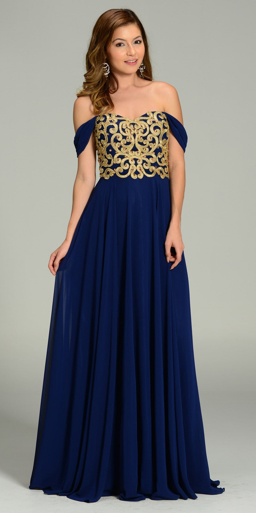 bc63a652de8f Full Length Chiffon Spanish Style Navy Gold Dress Off Shoulder Lace  Applique. Tap to expand