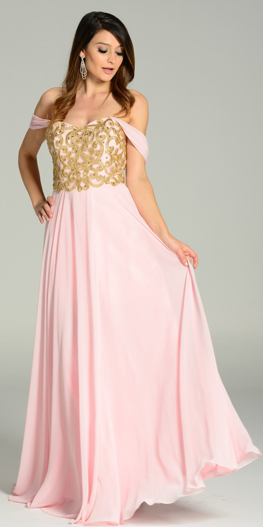 650b37ecd492 Full Length Chiffon Spanish Style Pink Gold Dress Off Shoulder Lace  Applique. Tap to expand