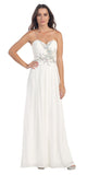 Full Length Chiffon Strapless White Prom Gown A Line