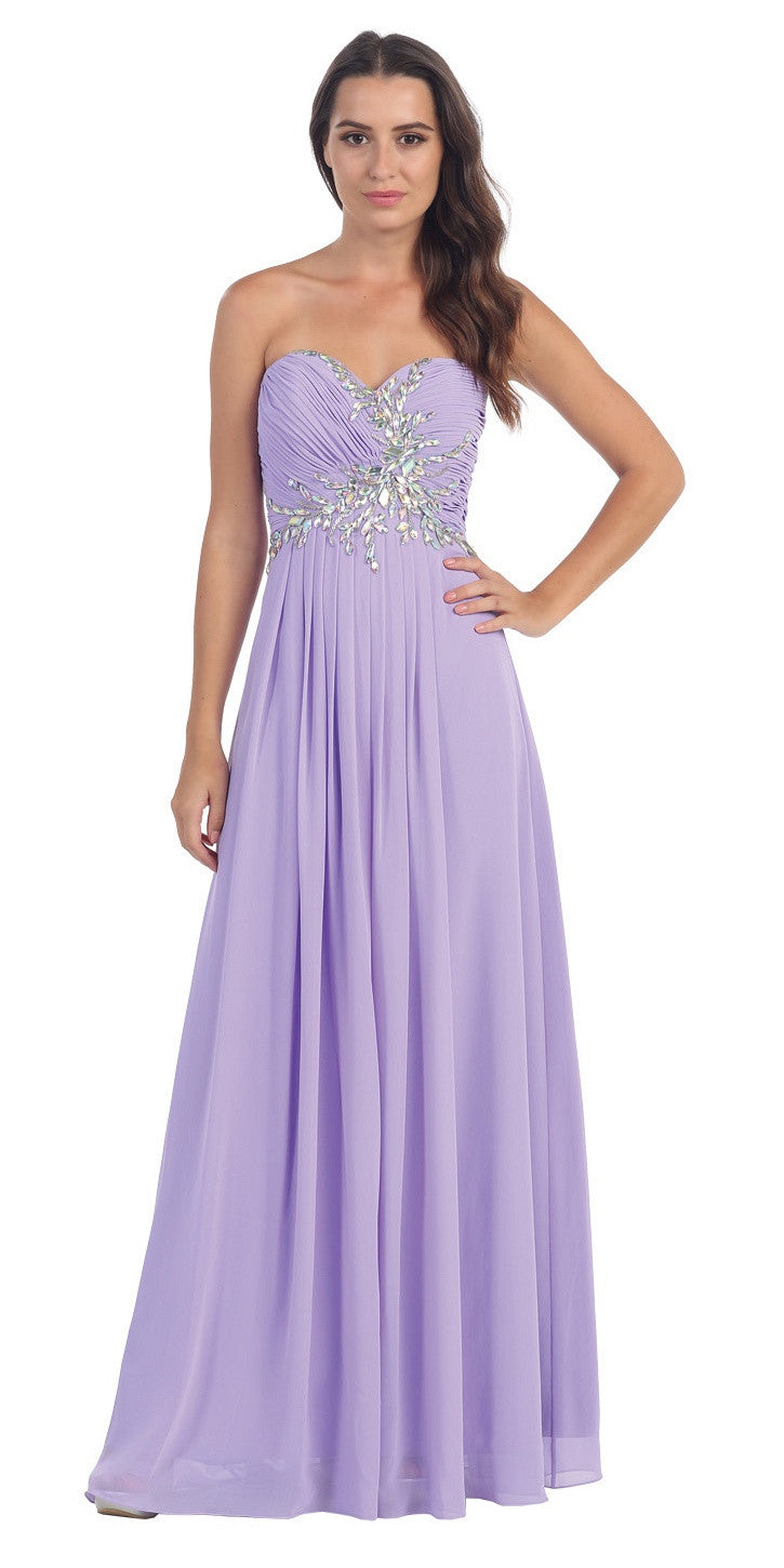 Full Length Chiffon Strapless Lilac Prom Gown A Line
