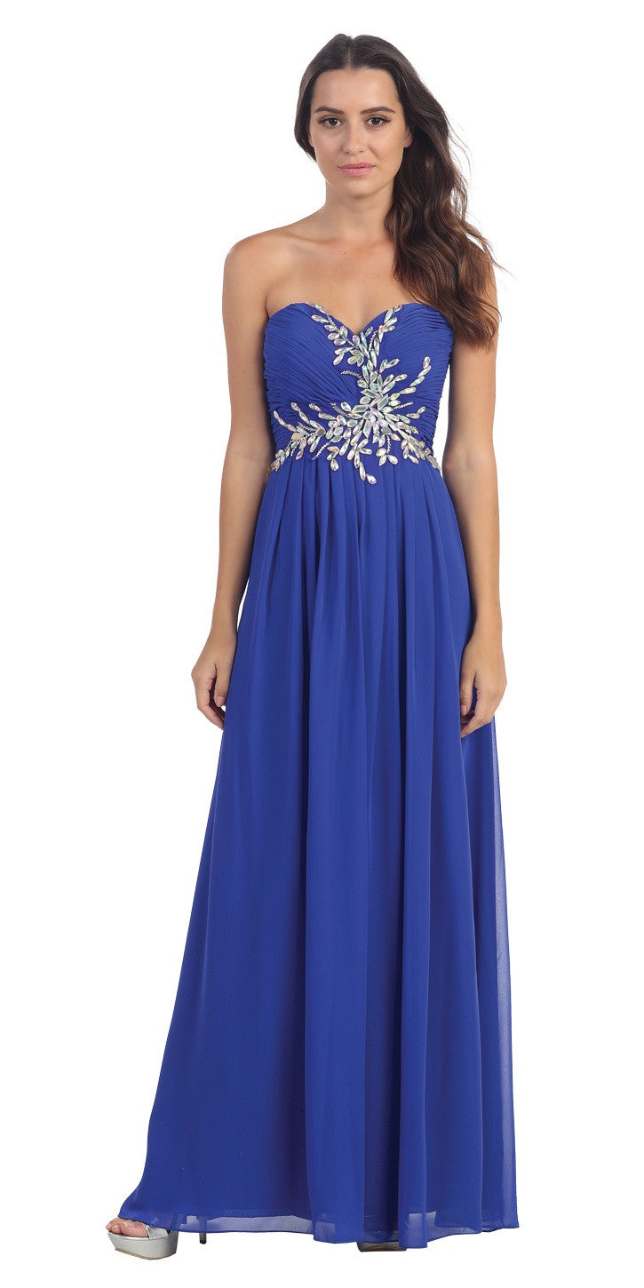 Full Length Chiffon Strapless Royal Blue Prom Gown A Line