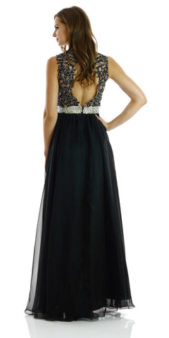 ON SPECIAL LIMITED STOCK - Full Length Lace/Chiffon Black Formal Gown Sleeveless Open Back