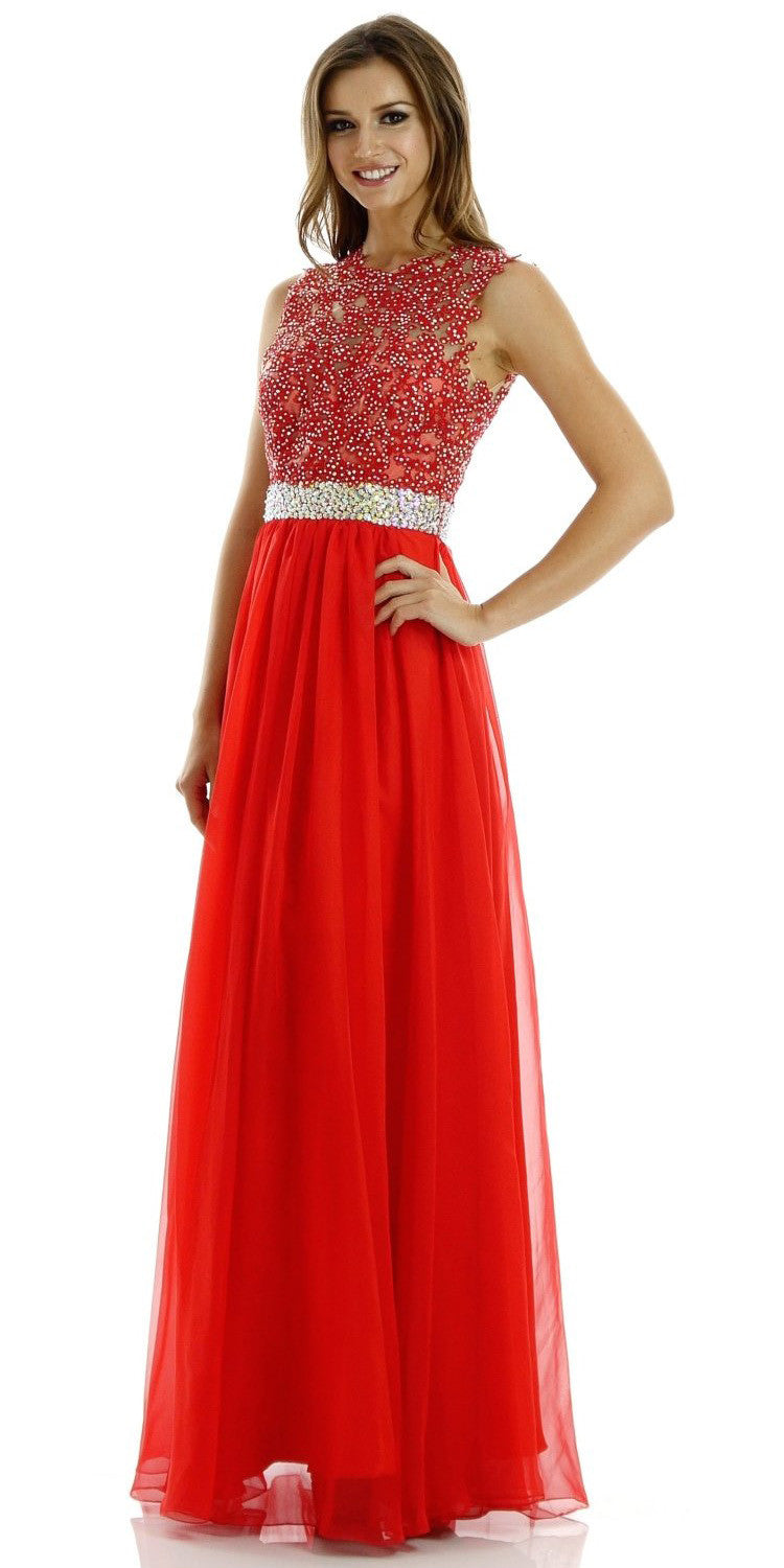 ON SPECIAL LIMITED STOCK - Full Length Lace/Chiffon Red Formal Gown Sleeveless Open Back