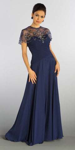 ON SPECIAL LIMITED STOCK - Full Length Mother of Groom Chiffon Dress Navy Blue Beaded Poncho