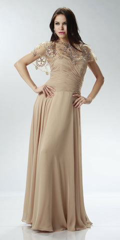ON SPECIAL LIMITED STOCK - Full Length Mother of Groom Chiffon Dress Nude Beaded Poncho