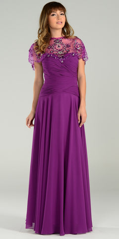 ON SPECIAL LIMITED STOCK - Full Length Mother of Groom Chiffon Dress Plum Beaded Poncho
