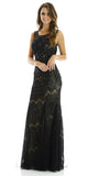 Full Length Sleeveless Lace and Mesh Black Formal Gown