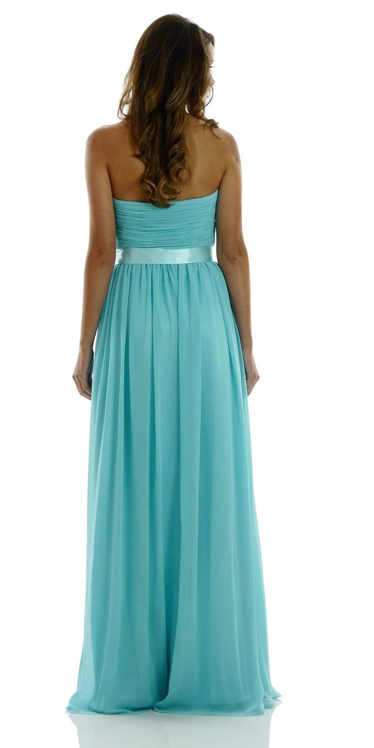 Full Length Strapless V Notch Aqua Chiffon Formal Dress