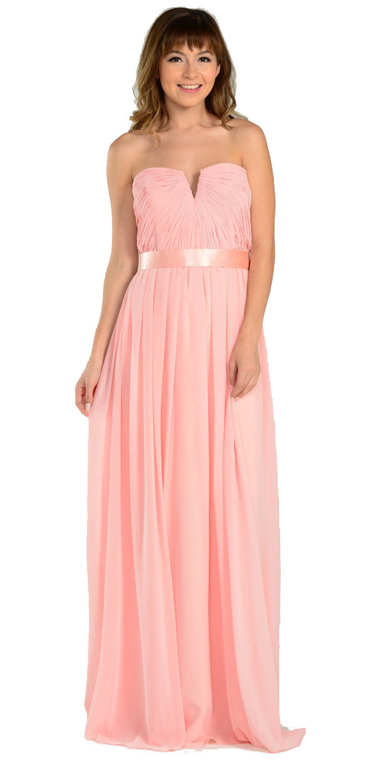 Full Length Strapless V Notch Blush Chiffon Formal Dress