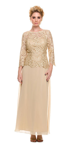 Gold Mother of Bride Gown Plus Size Mid Lace Sleeves