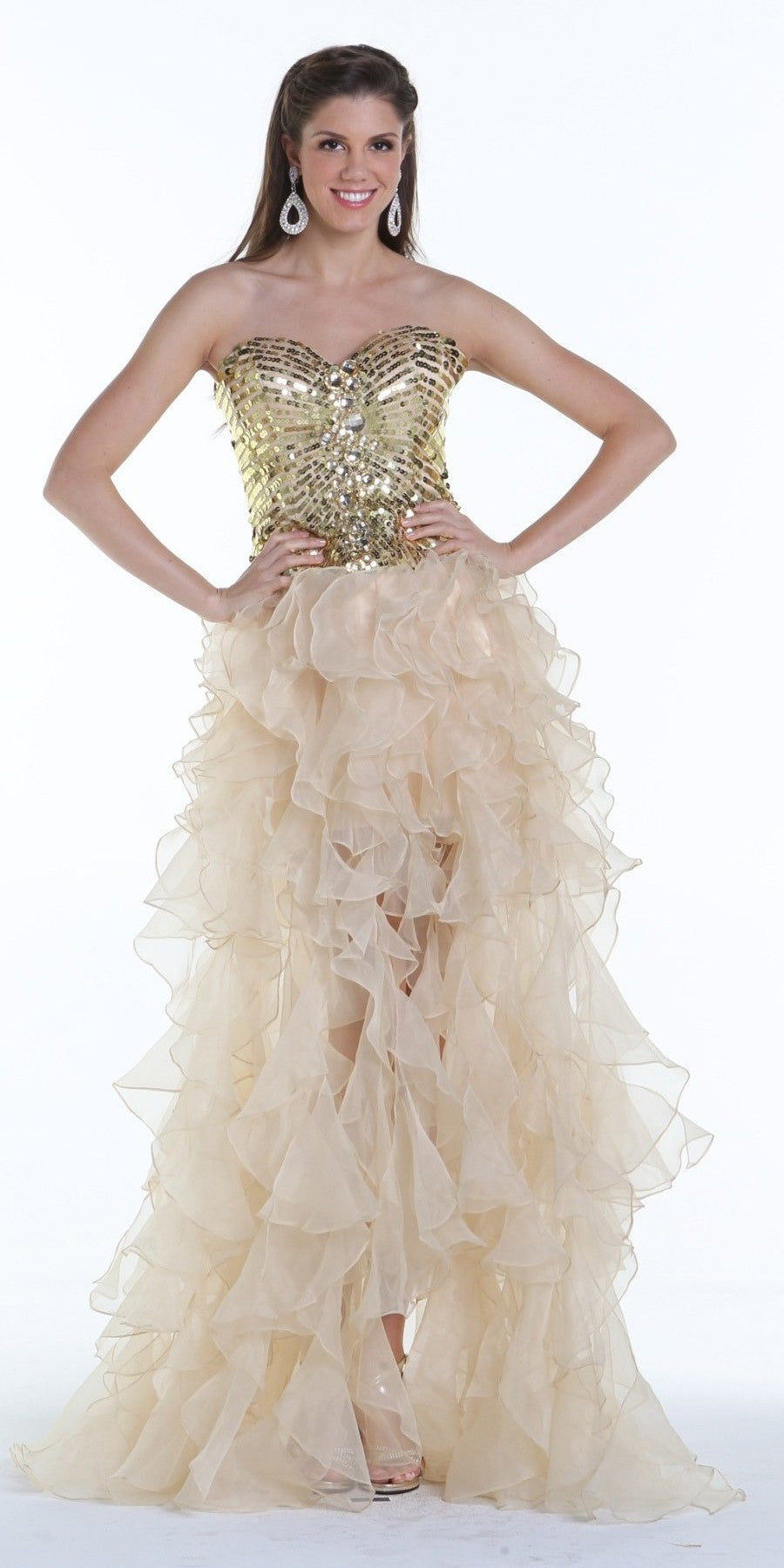 ON SPECIAL LIMITED STOCK - Stunning Strapless Nude High Low Gown Sequins Top Organza Skirt