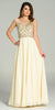 Illusion Bateau Neck Long Chiffon/Mesh A Line Dress Ivory