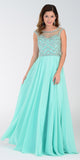 Illusion Bateau Neck Long Chiffon/Mesh A Line Dress Mint