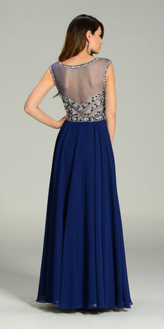 Illusion Bateau Neck Long Chiffon/Mesh A Line Dress Navy Blue