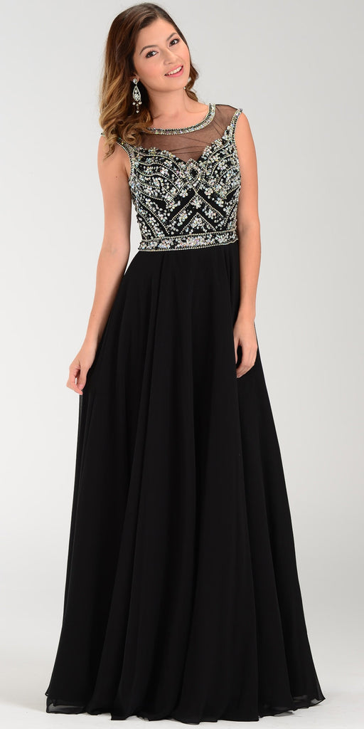 Illusion Bateau Neck Long Chiffon/Mesh A Line Dress Black