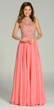 Illusion Bateau Neck Long Chiffon/Mesh A Line Dress Coral