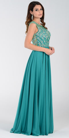 Illusion Bateau Neck Long Chiffon/Mesh A Line Dress Emerald Green