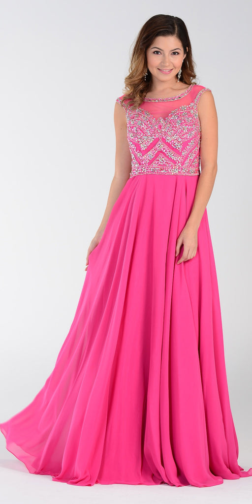 Illusion Bateau Neck Long Chiffon/Mesh A Line Dress Hot Pink