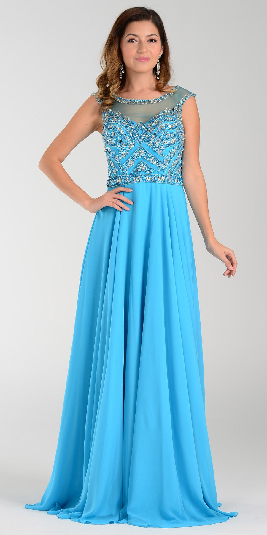 Illusion Bateau Neck Long Chiffon/Mesh A Line Dress Sky Blue