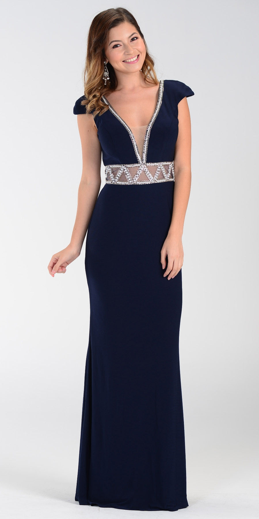 ON SPECIAL LIMITED STOCK - ITY Formal Gown Navy Blue Full Length V Neck Cap Sleeve Rhinestones