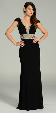 ON SPECIAL LIMITED STOCK - ITY Formal Gown Black Full Length V Neck Cap Sleeve Rhinestones
