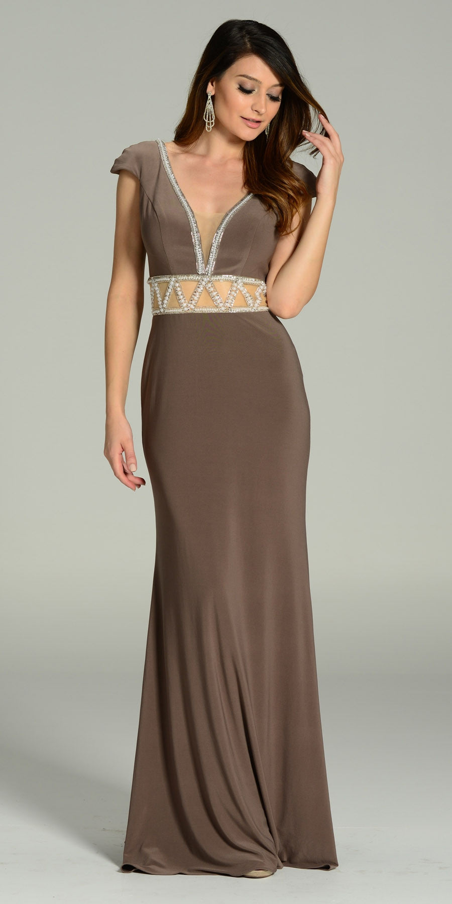ON SPECIAL LIMITED STOCK - ITY Formal Gown Mocha Full Length V Neck Cap Sleeve Rhinestones