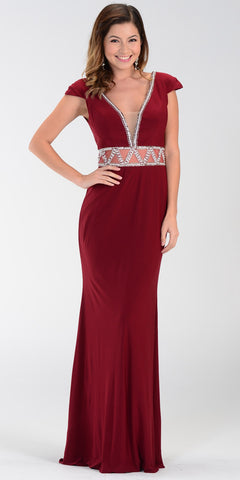 ON SPECIAL LIMITED STOCK - ITY Formal Gown Burgundy Full Length V Neck Cap Sleeve Rhinestones