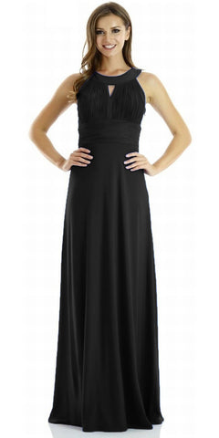 ITY Semi Formal Dress Black Long Ruched Keyhole Bodice