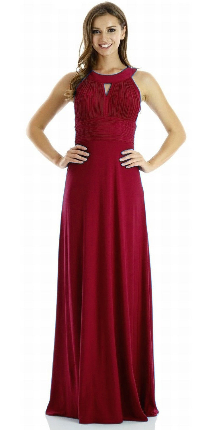 ITY Semi Formal Dress Burgundy Long Ruched Keyhole Bodice