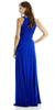 ITY Semi Formal Dress Royal Blue Long Ruched Keyhole Bodice