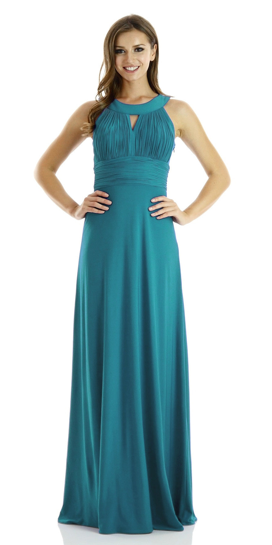 ITY Semi Formal Dress Teal Long Ruched Keyhole Bodice