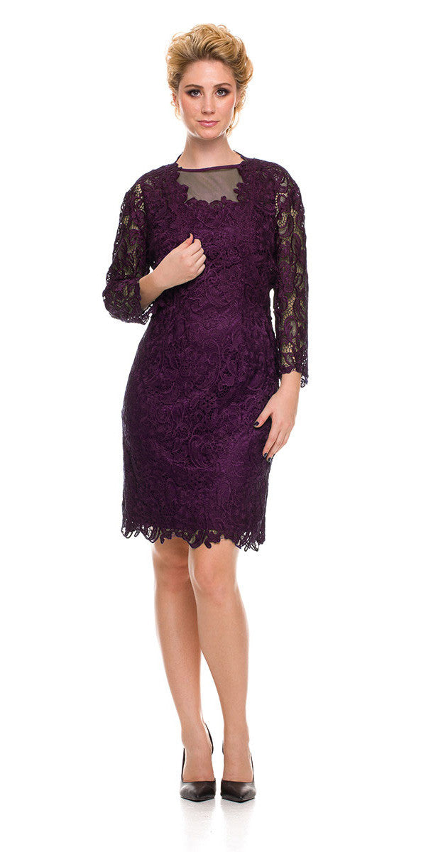 Knee Length Cruise Dress Lace Eggplant Includes Lace Jacket