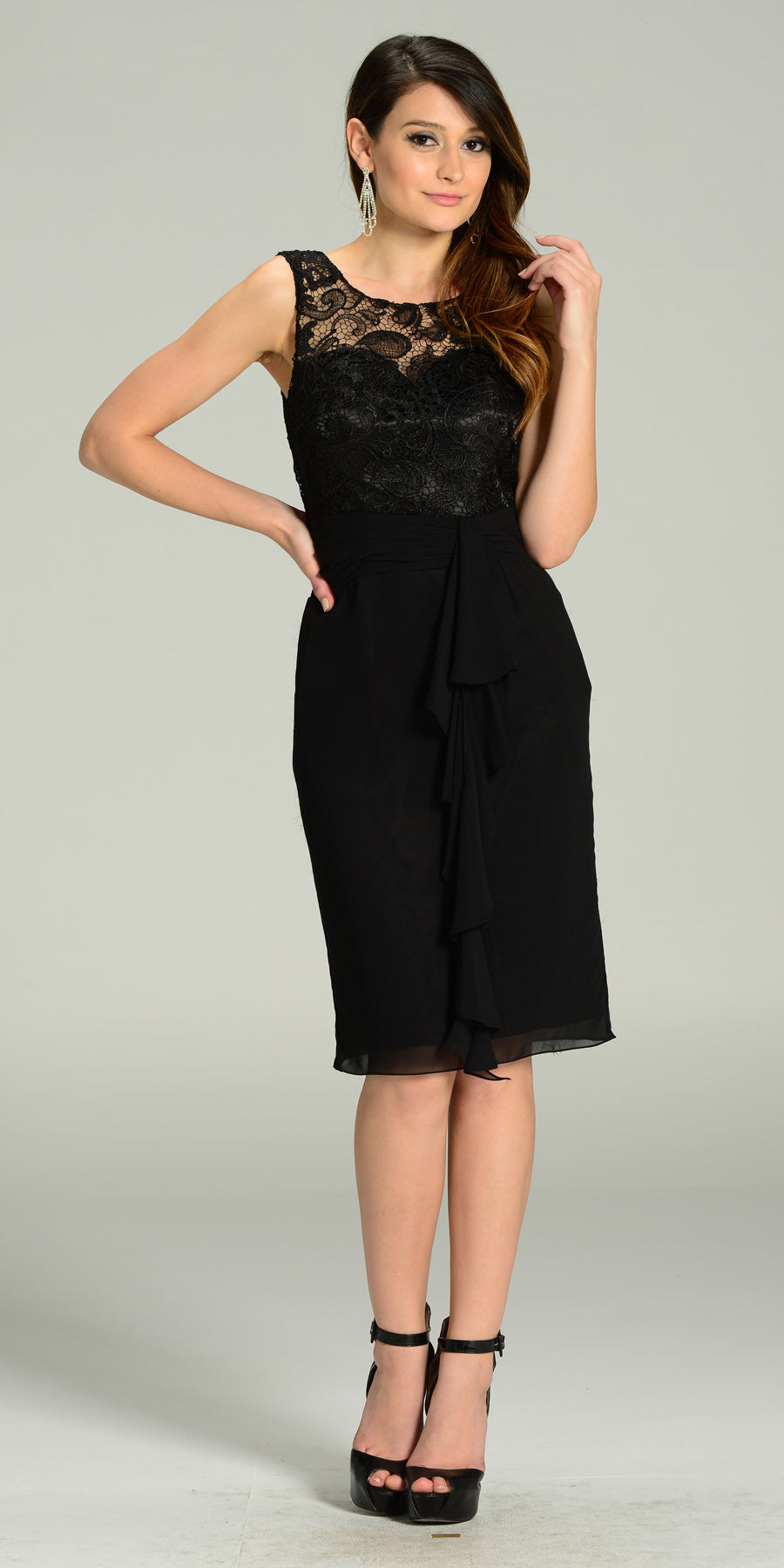 Knee Length Formal Dress Black Lace Top Chiffon Skirt